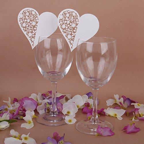 Phenovo Lot de 50pcs Carte de Verre Marque Place Coeur Décoration de Table pour Cérémonie de Mariage