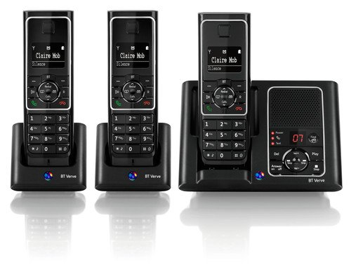 BT Verve 450 DECT Trio Digital Cordless Telephone and Answering Machine - Black