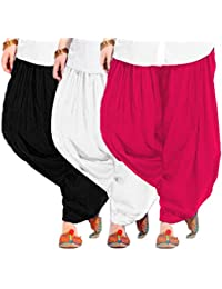 Women's RANI-WHITE-BLACK Cotton Patiala Salwar (pack Of 3)