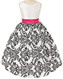 White with Black Velvet Special Occasion Dress w/ Removable Fuchsia Sash 6