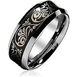 Bling Jewelry Florentine Design Concave Tungsten Wedding Ring 8mm