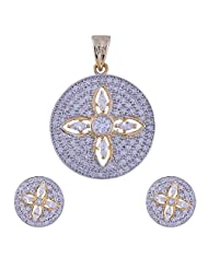 Nimbark Traders Brass And Metal White Color Designer Pendent Set With Earrings For Women - B00RFRGQKY