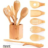 Neet Organic Wooden Bamboo Elevated Cooking & Serving Utensils, Kitchen Utensils 6 Piece Set BMB-SU6