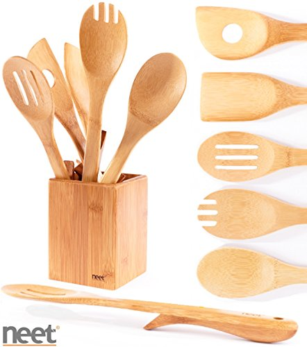 Neet Organic Wooden Bamboo Elevated Cooking & Serving Utensils, Kitchen Utensils 6 Piece Set BMB-SU6 (Kitchen Utensil Holder Bamboo compare prices)
