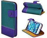 Shenit Samsung Galaxy S4 Leather Case Wallet Flip Cover Dual Tone Folio with Credit Business Card Holder - Light Blue