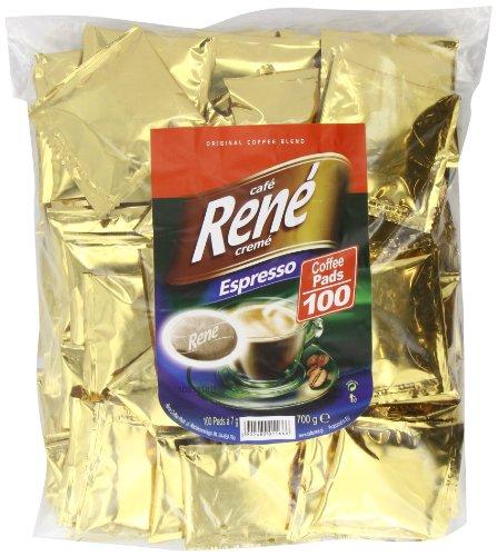 Café Rene Caf? Rene Cr?me Espresso Coffee Pads (Pack of 1, Total 100 Coffee Pads)