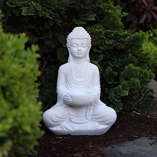 buddha deko figur aus stein sitzend 30cm skulptur mit