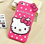 iPhone 6 / 6S Case - Pink Polka Dots Hello Kitty w/ Charm Soft Rubber Silicone Protection Skin Cover [for Apple iPhone 6 or 6S]
