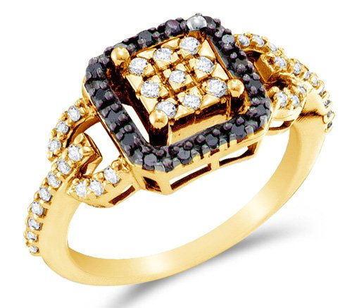 Size 10.5 - 14K Yellow Gold White And Black Diamond Halo Engagement Or Fashion Right Hand Ring Band - Square Princess Shape Center Setting W/ Channel Set Round Diamonds - (.48 Cttw)