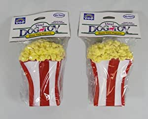 "Lot of 2 Vo Toys Movie Time Popcorn 5"" Vinyl Dog Toy With Squeaker"
