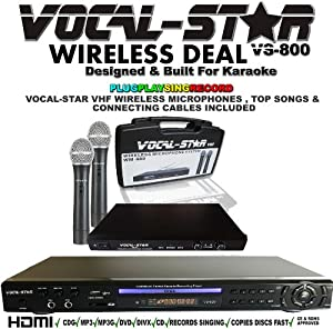 VOCAL-STAR VS-800 HDMI KARAOKE MACHINE WITH 2 VHF WIRELESS MICROPHONES AND 100 TOP KARAOKE SONGS - RECORDS SINGING