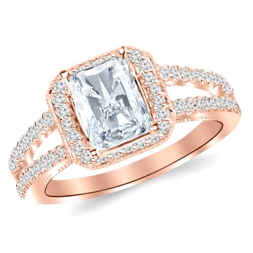 Rose Gold Three 3 Stone Princess Cut Channel Set Diamond Engagement Ring With A 1.01 Carat Igi Certified Radiant Cut H-I Color Si1 Clarity Center Stone