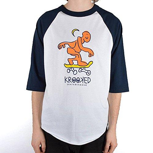 (クルキッド)KROOKED 七部袖 ラグランTシャツ MARK GONZ マーク ゴンザレス Lunar Lurker Raglan 3/4 T-Shirt Lサイズ Navy×White(ネイビー×ホワイト)
