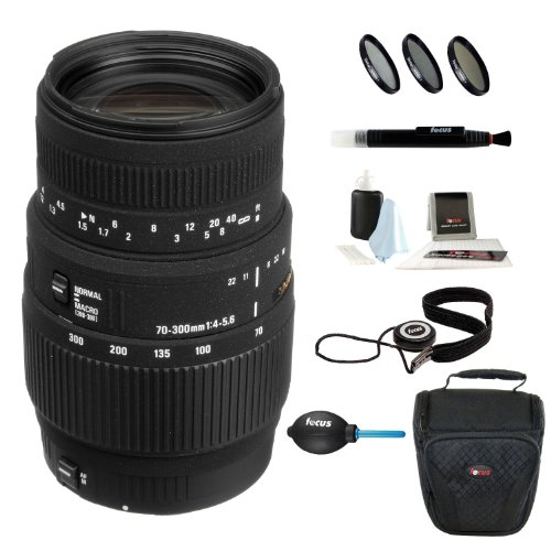 Sigma 70-300Mm F/4-5.6 Dg Macro Telephoto Zoom Lens For Canon Eos Af Usa + 58Mm 3-Piece Filter Kit Uv/Cpl/Wm + Deluxe Accessory Kit