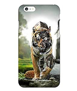 Make My Print Lion Printed Yellow Hard Back Cover For Iphone 6 Plus