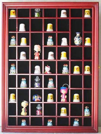 Great Deal! 59 Thimble / Miniature Display Case Holder Cabinet Shadow Box, Solid Wood, Felt Interior...