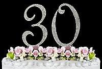 Rhinestone Cake Topper Number 30