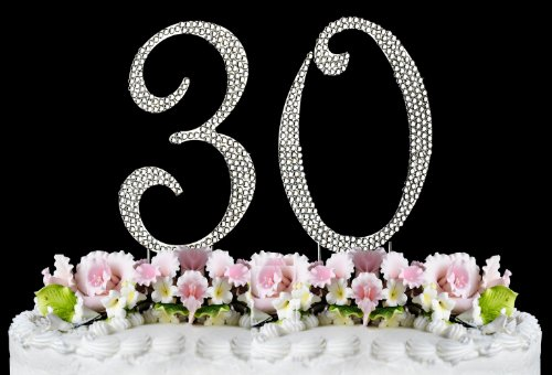 Rhinestone Cake Topper Number 30 front-922556
