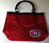 NHL Montreal Canadiens Quilted Tote, Dark Red by NYC Leather Factory Outlet