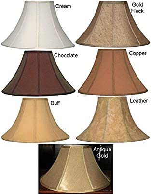 "21 Colors Sizes 16-24"" Wide Coolie Bell Silk Shantung Lamp Shade Hand Made Lampshades, Cream, Copper, Chocolate, Antique Gold, Buff, Fleck, Leather with Soft Luxury Lining"