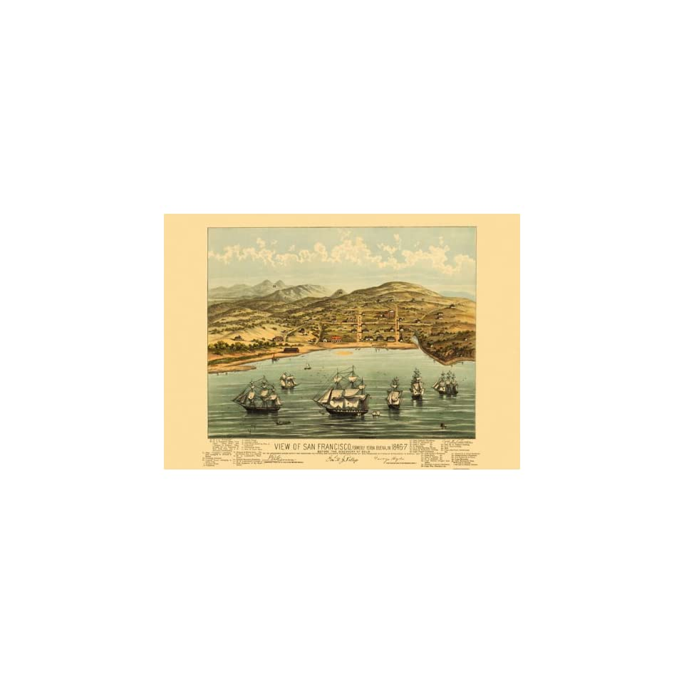 SAN FRANCISCO CALIFORNIA (CA) PANORAMIC MAP BY THE BOSQUI ENG. & PRINT CO. 1847