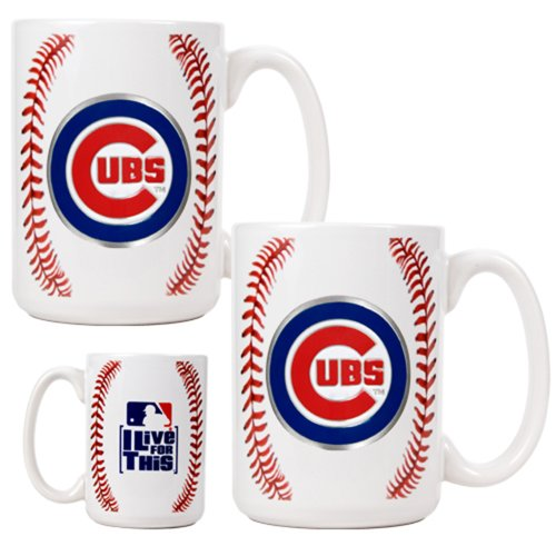 MLB Chicago Cubs Two Piece Ceramic Gameball Mug Set - Primary Logo