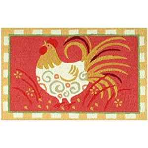 Country Farm Animal Rooster Chicken Accent Area Rug Jellybean Machine Made Rugs