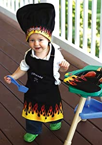 "3-Piece ""Lil' Griller"" Embroidered Child Chef's Apron, Hat and Pot Holder Set"