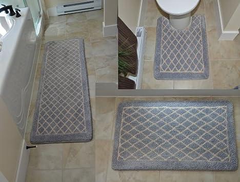 "Diamond Gray 3 Piece Memory Foam Bath Mat 64""x 20""+32""x 20""+ Contour 24""x 20"" Non-slip Long Rug"