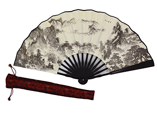 Amajiji High Quality Handmade Silk Folding fan for Men Chinese Style (33CM) (001)