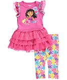 """Dora the Explorer Little Girls' Toddler """"Bright Flowers"""" 2-Piece Outfit"""