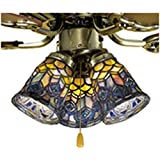 Meyda 27459 4-Inch W Tiffany Peacock Feather Fan Light Shade, Blue