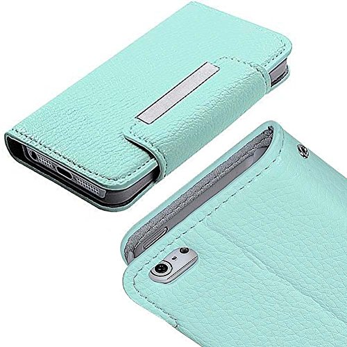 Mylife Celeste Blue {Book Chic Design} Textured Koskin Faux Leather (Card And Id Holder + Magnetic Detachable Closing) Slim Wallet For Iphone 5/5S (5G) 5Th Generation Smartphone By Apple (External Rugged Synthetic Leather With Magnetic Clip + Internal Sec