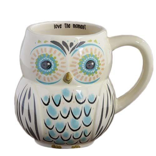 Natural Life MUG183 Folk Owl Mug, Love The Moment, White