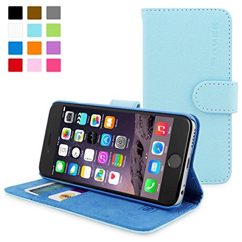 英国Snugg製 iPhone6用 PUレザー手帳型ケース - 生涯補償付き (ベビーブルー)