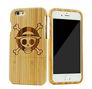 SunSmart Unique Handmade Genuine Natural Wood Wooden Hard bamboo Case Cover for iPhone 6 4.7'' (02-one piece)