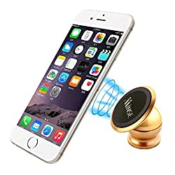 Minse 360 Degree Rotatable Magnetic Mini Cell Phone Car Mount Holder For iPhone 6s 5se Samsung Galaxy s7 s6edge not5 /Ultra Strong & Sticky (Gold)