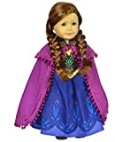 Ebuddy ® Disney Frozen Anna Sparkle Princess Dress for 18 American Girl Doll Clothes