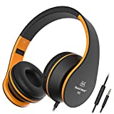 Headphones, Sound Intone Headphones with Microphone, Foldable Headsets with Inline Volume Control Strong Low Bass for iPhone iPad Smartphones Laptop Mp3/4, Earphones (Black Orange)