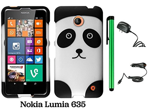 Nokia Lumia 635 (Us Carrier: T-Mobile, Metropcs, And At&T) Premium Pretty Design Protector Cover Case + Travel (Wall) Charger & Car Charger + 1 Of New Assorted Color Metal Stylus Touch Screen Pen (Black Silver Panda Bear)