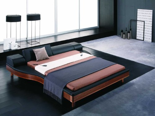 Portofino Black Leatherette & Walnut Wood Queen Size Platform Bed With Built-In Nightstands front-353784