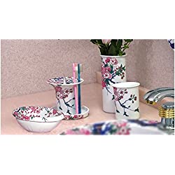 """Oriental artistic"" Arita Porcelain Bath Collection (Soap Dish, Teeth Brush Holder, Tumbler, Flower vase and Hook) SOMENISHIKI WITH GOLD CHERRY BLOSSOM"
