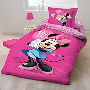 parure linge de lit housse de couette taie d oreiller enfant minnie disney pour un lit 1. Black Bedroom Furniture Sets. Home Design Ideas