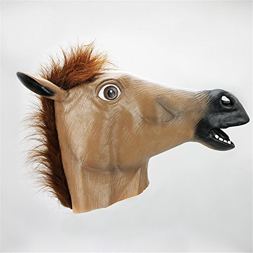 MuchBuy Horse Head Mask Latex Animal Costume Prop Style Toys Halloween Party