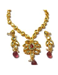 Champa Qali Bridal Collection Double Sided Kundan Meenakari Necklace Set for Women