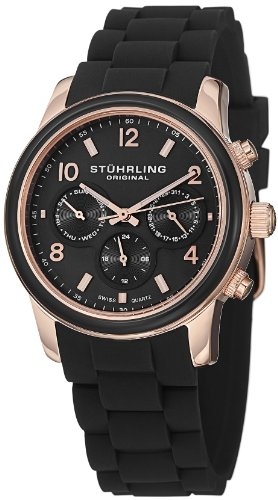 "Stuhrling Original Women'S 796.03 ""Vogue Audrey"" Stainless Steel Watch With Black Band"