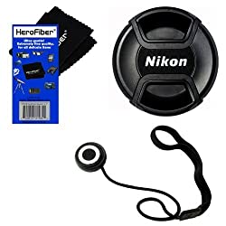 Nikon LC-52 Snap on Front Lens Cap for 18-55mm, 55-200mm, 24mm f/2.8D, 28mm f/2.8D, 35mm f/1.8G, 35mm f/2.0D, 40mm f/2.8G, 50mm f/1.4D, 50mm f/1.8D & 85mm f/3.5G Lenses + Universal Lens Cap Keeper w/ HeroFiber Ultra Gentle Cleaning Cloth