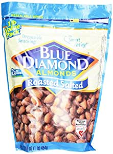 Blue Diamond Almonds Roasted Salted, 16-Ounce Bags (Pack of 3)
