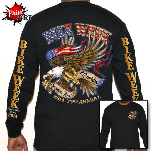 Biker Life USA Men's 2014 Bike Week American Eagle Short Sleeve T-Shirt