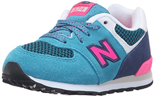New Balance KL574 Summer Utility Infant Running Shoe (Infant/Toddler), Blue/Pink, 7.5 W US Toddler (New Balance Baby Shoes compare prices)